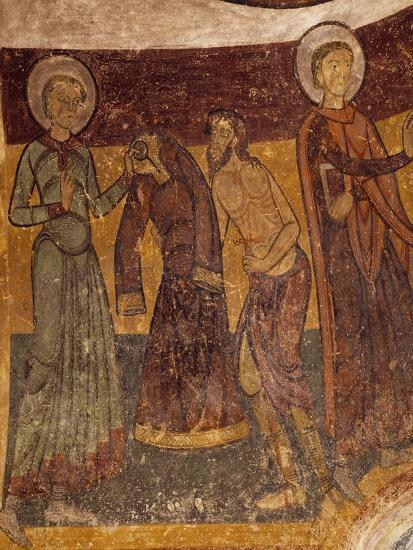 St Giles Offering His Garment to Poor Man in Church of Saint-Aignan, Brinay, France, 12th Century--Giclee Print