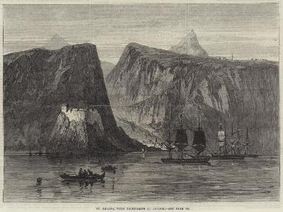 St Helena, with Troop-Ships at Anchor--Giclee Print