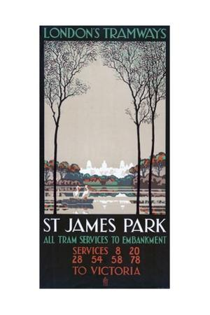 St James Park, London County Council (LC) Tramways Poster, 1928