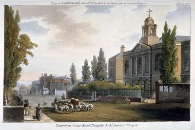 St James's Chapel and Tottenham Court Turnpike, St Pancras, London, 1812--Giclee Print