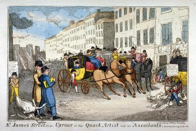 St James Street in an Uproar, or the Quack Artist and His Assailants, 1819-JL Marks-Giclee Print