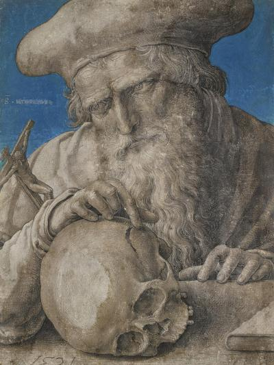 St Jerome, 1521 (Black Chalk with Finely Hatched Brushwork and Blue Ground)-Lucas van Leyden-Giclee Print