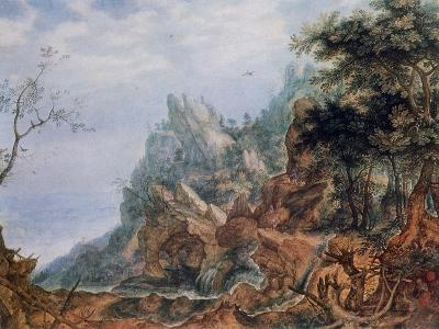 St Jerome in a Rocky Landscape, C1596-1639-Roelandt Savery-Giclee Print