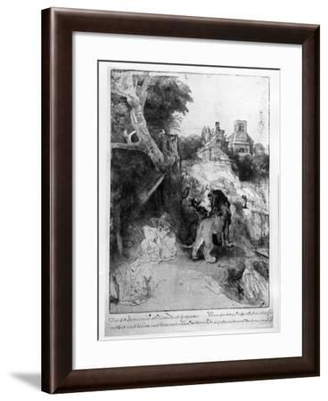 St. Jerome in an Italian Landscape, C.1653 (Etching)-Rembrandt van Rijn-Framed Giclee Print