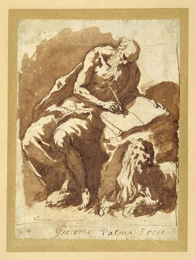 St. Jerome Seated on a Rock, Writing-Jacopo Negretti-Giclee Print