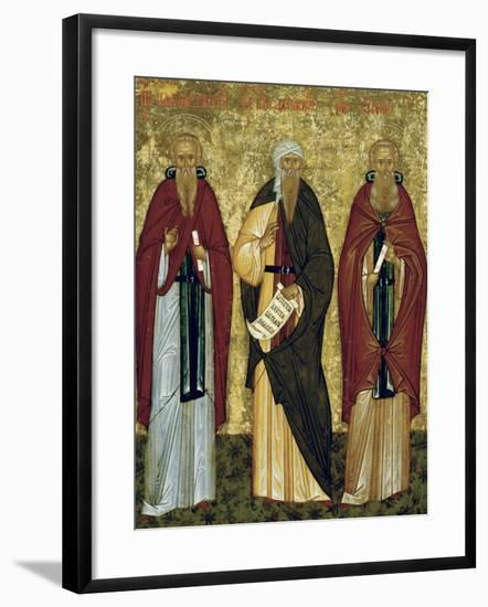 St. John Climacus (The Ladder) St. John of Damascus and St. Arsenias, Russian Icon--Framed Giclee Print