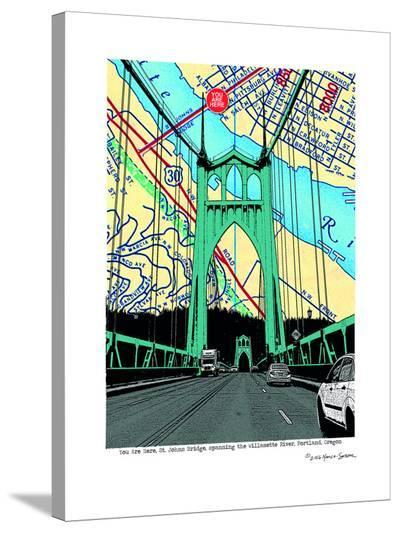 St. Johns Bridge Portland--Stretched Canvas Print