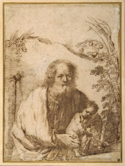 St. Joseph and the Infant Christ Grasping a Twig of an Apple Tree-Guercino (Giovanni Francesco Barbieri)-Giclee Print