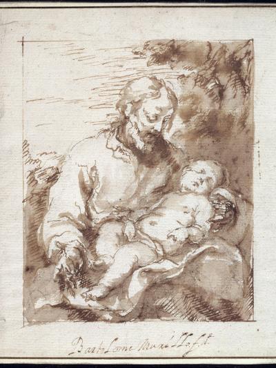 St. Joseph with the Sleeping Christ Child-Bartolome Esteban Murillo-Giclee Print