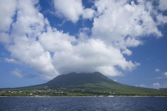 St. Kitts and Nevis, Nevis. View of Nevis Peak from the sea-Walter Bibikow-Photographic Print