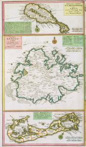 St. Kitts, Antigua and Bermuda, detail from a map of English Colonies in Caribbean