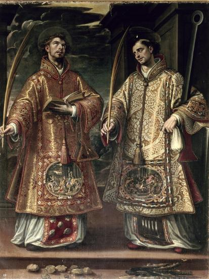 St. Lawrence and St. Stephen, 1580-Alonso Sanchez Coello-Premium Giclee Print