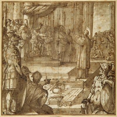 St Lawrence Discourses in the Presence of the Prefect Decius, 1581-Antonio Tempesta-Giclee Print