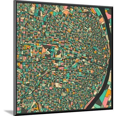 St. Louis Map-Jazzberry Blue-Mounted Print
