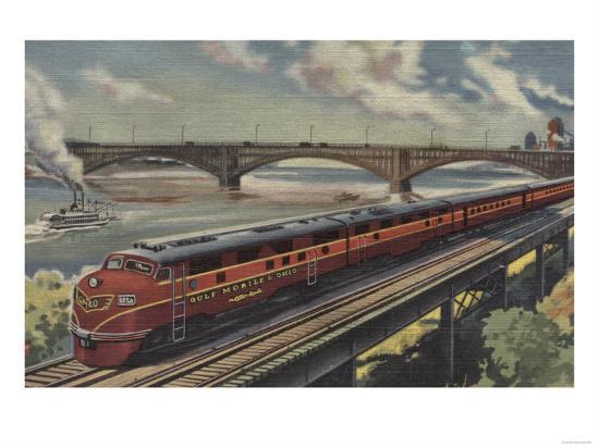 St. Louis, Missouri, Gulf Mobile & Ohio Train by River - St. Louis, MO-Lantern Press-Art Print