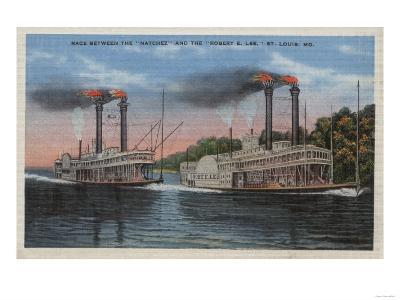St. Louis, MO - View of Natchez & Robert E. Lee-Lantern Press-Art Print