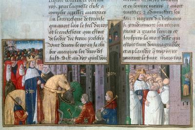 St Louis Returns to Paris, and St Louis Among the Priests, Mid-13th Century--Giclee Print