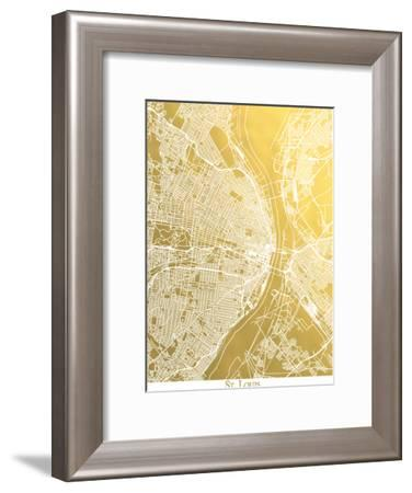 St Louis-The Gold Foil Map Company-Framed Art Print
