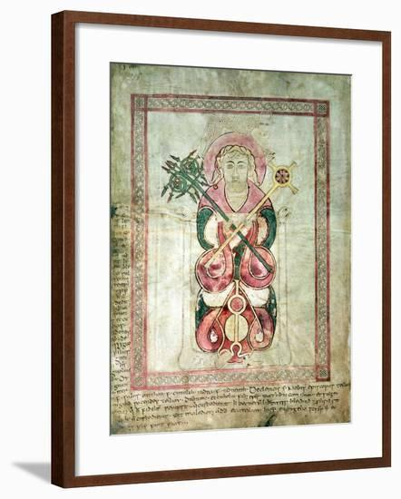 St. Luke and His Winged Calf, Title Page to St. Luke's Gospel, from the Lichfield Gospels, c.720--Framed Giclee Print