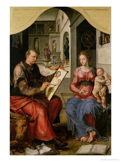 St. Luke Painting the Virgin, c.1545-Maerten van Heemskerck-Giclee Print