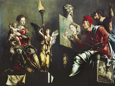 St Luke Painting Virgin and Child, 1532-Maerten van Heemskerck-Giclee Print