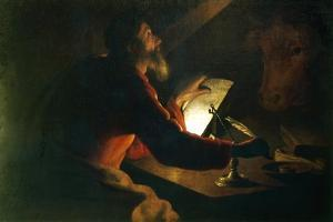 St Luke the Evangelist Writing His Gospel Watched by His Symbol, an Ox, 17th Century