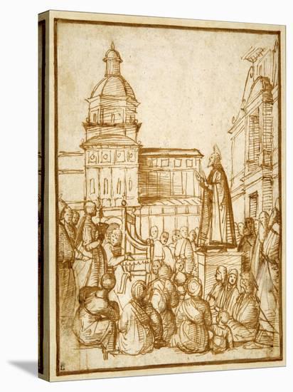 St. Mark Preaching in the Piazza-Lattanzio da Rimini-Stretched Canvas Print