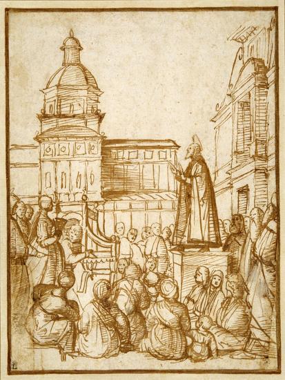 St. Mark Preaching in the Piazza-Lattanzio da Rimini-Giclee Print