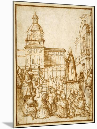St. Mark Preaching in the Piazza-Lattanzio da Rimini-Mounted Giclee Print