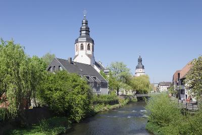St. Martinskriche Church on River Alb and Town Hall, Ettlingen, Baden-Wurttemberg, Germany-Markus Lange-Photographic Print