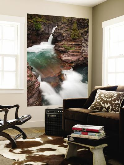 St. Mary Falls, Glacier National Park, Montana, USA-Jamie & Judy Wild-Wall Mural