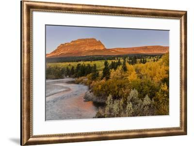 St. Mary River and Singleshot Mountain in autumn in Glacier National Park, Montana, USA-Chuck Haney-Framed Photographic Print