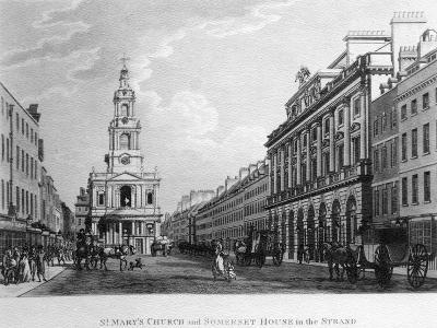 St. Mary's Church and Somerset House in the Strand, 1796--Giclee Print