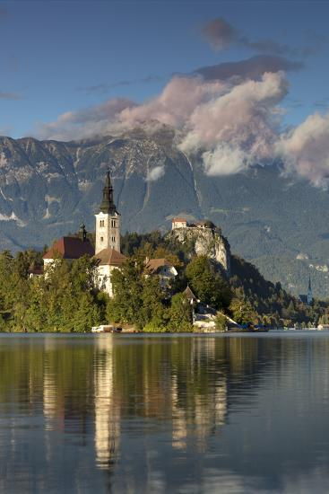 St. Mary's Church of the Assumption in Lake Bled with Bled Castle, Bled Island, Slovenia-Brian Jannsen-Premium Photographic Print