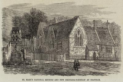 St Mary's National Schools and New Drinking-Fountain at Chatham--Giclee Print