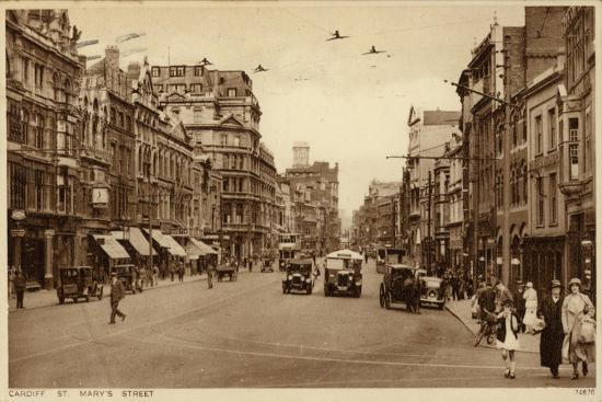 St Mary's Street in Cardiff--Photographic Print