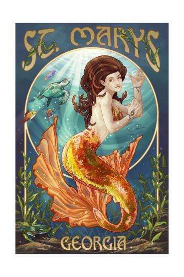 St. Marys, Georgia - Mermaid-Lantern Press-Art Print