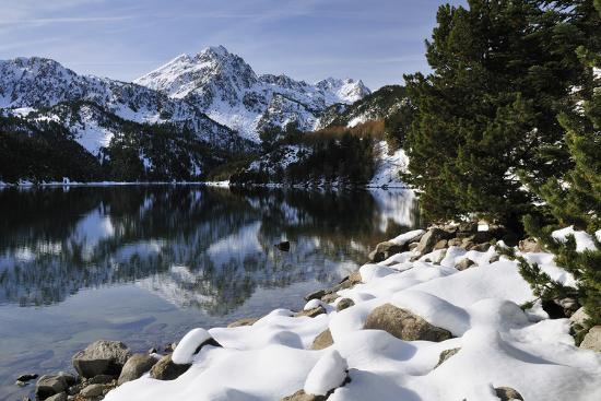 St. Maurici Lake and Snowy Peaks of Aigues Tortes Nat'l Park in Winter, Pyrenees, Catalonia, Spain-Nick Upton-Photographic Print