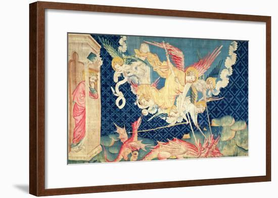 """St. Michael and His Angels Fighting the Dragon, No.36 from """"The Apocalypse of Angers,"""" 1373-87-Nicolas Bataille-Framed Giclee Print"""