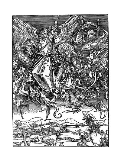 St Michael Battling with the Dragon, 1498-Albrecht Durer-Giclee Print