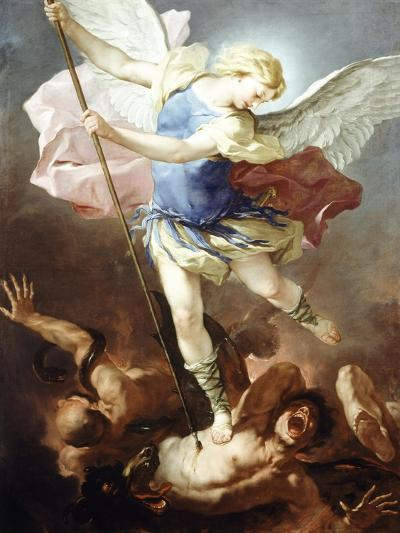 St Michael Defeats Demon-Luca Giordano-Giclee Print