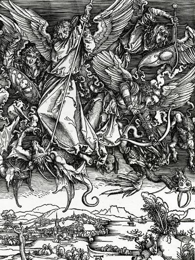 St. Michael Fighting the Dragon, 1498 (Woodcut)-Albrecht D?rer-Giclee Print