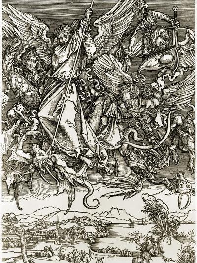 St. Michael Fighting the Dragon-Albrecht D?rer-Giclee Print