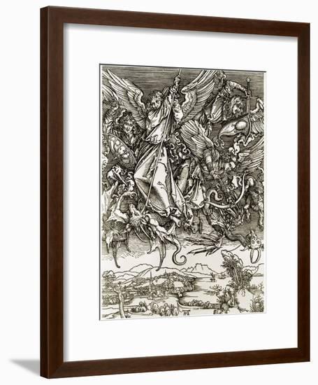 St. Michael Fighting the Dragon-Albrecht Dürer-Framed Giclee Print