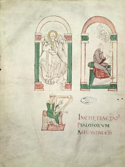 St. Michael, St. Augustine Writing and St. David Playing the Harp, 'saint Augustin Super Psalmos--Giclee Print