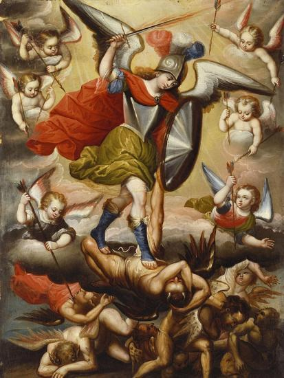 St Michael the Archangel. Cuzco School, 17th Cent, c.1675-Diego Quispe Tito-Giclee Print