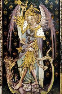 St Michael the Archangel, Detail of the Rood Screen, St Helen's Church, Ranworth, Norfolk, Uk