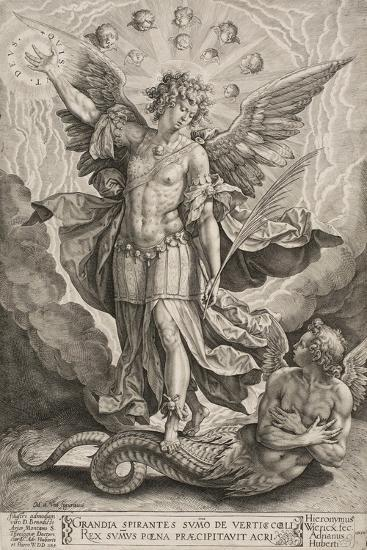St Michael Triumphing over the Dragon, 1584-Hieronymus Wierix-Giclee Print