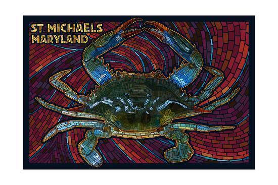 St. Michaels, Maryland - Blue Crab Paper Mosaic-Lantern Press-Art Print
