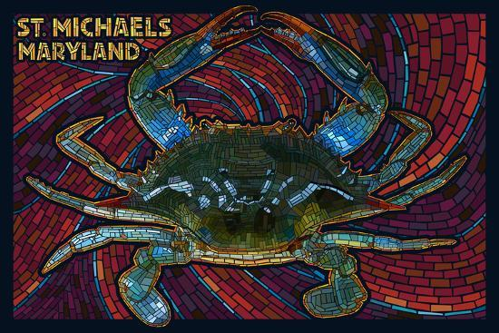 St. Michaels, Maryland - Blue Crab Paper Mosaic-Lantern Press-Wall Mural